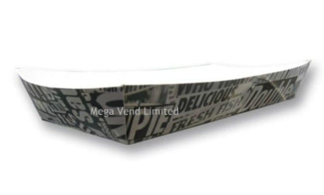 Newsprint Fish & Chip Shop Large Cardboard Takeaway Tray Fast Food Packaging