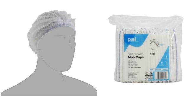 Pal Hygiene - Non woven Mob Caps - Sealed Pack of Approx. 100 Food Prep Tanning Hair Net