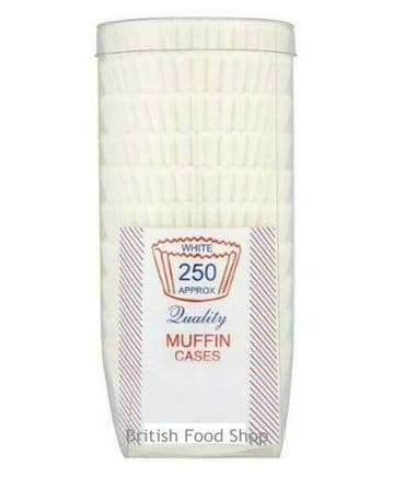 Quality Crimped Paper White Muffin Baking Cases a Resealable Tub - 1 x 250