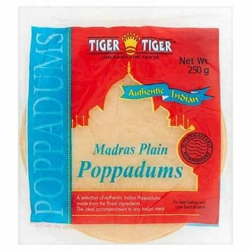 Tiger Tiger Madras Plain Poppadums Microwavable [Packs of 250g] Ready to Cook