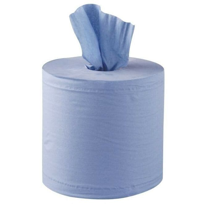 Warrior Centre Feed Rolls 2 Ply Blue 142.5m+ Wipes Hand Towel  - 173mm x 375 Sheets