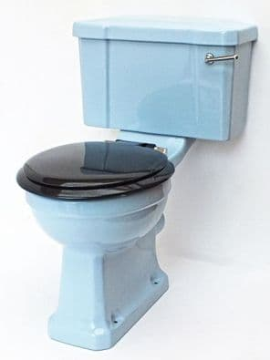 Armitage Blue Edwardian/Art Deco Toilet Pan and Cistern Close-Coupled