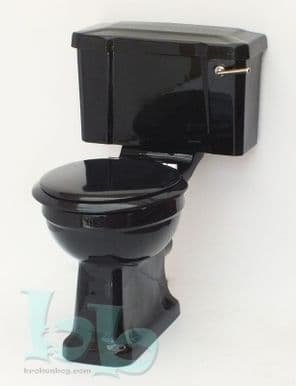 Black Edwardian/Art Deco Toilet Pan and Cistern Close-Coupled