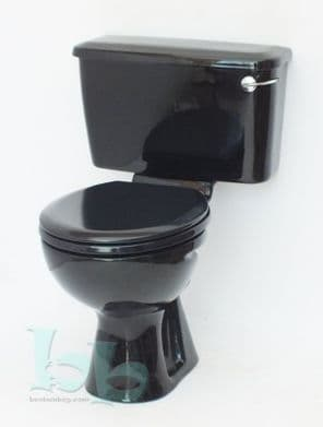 Black toilet pan and cistern close-coupled