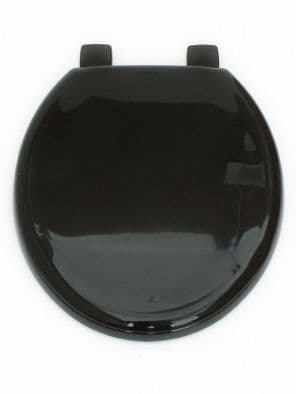 Black toilet seat, lid and fittings