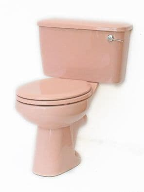 Coral Pink Toilet Pan and Cistern Close-Coupled