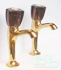 "Orta Retro Gold 1/2"" high necked kitchen sink pillar taps"