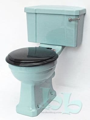 Regency Blue Edwardian/Art Deco Toilet Pan and Cistern Close-Coupled