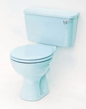 Sky Blue Toilet Pan and Cistern Close-Coupled