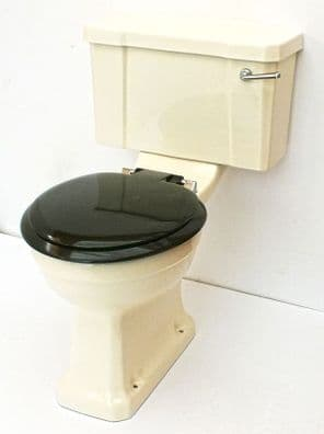 Sorbet / Old Ivory Edwardian/Art Deco Toilet Pan  and Cistern Close-Coupled
