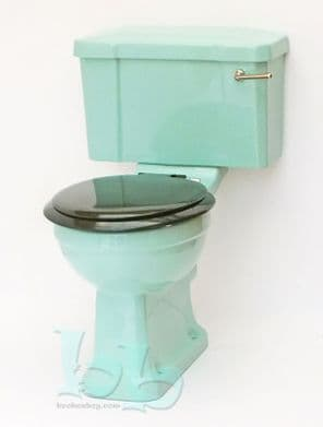 Turquoise Edwardian/Art Deco Toilet Pan and Cistern Close-Coupled