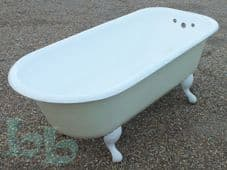 Vintage White Roll Top Bath on Ball Feet
