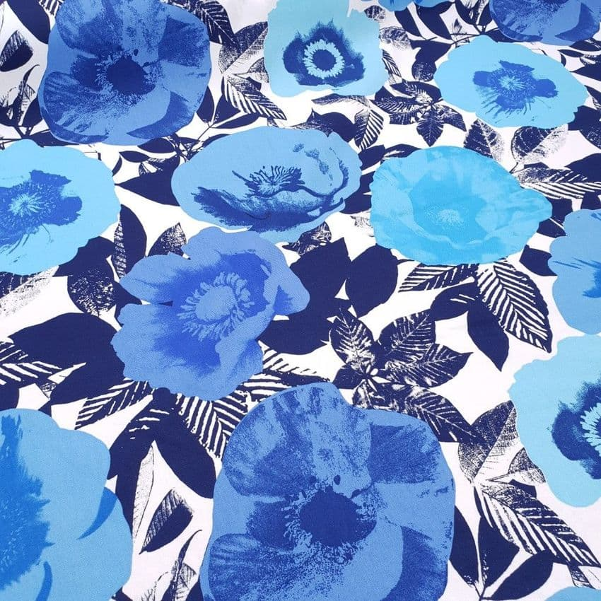 Bold Flowers - Curtains Soft Furnishings Cotton Fabric  - Blue