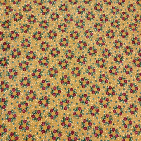 Flower - Dress Craft- Cotton Fabric  -Red on Mustard Orange