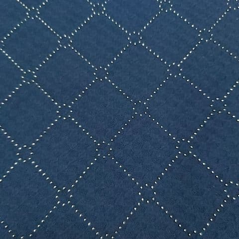 Jersey Polyester Dress Fabric - Navy Blue with Gold Diamonds