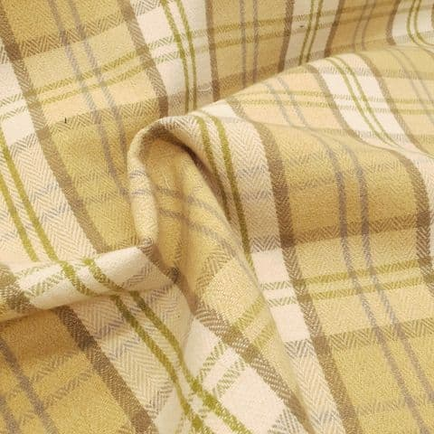 Mobus Lewis Tweed Check -  Curtains Upholstery  Polyester Cotton Fabric - Mustard