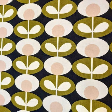 Orla Kiely - Curtain Soft Furnishings Cotton Fabric - Oval Flower Seagrass