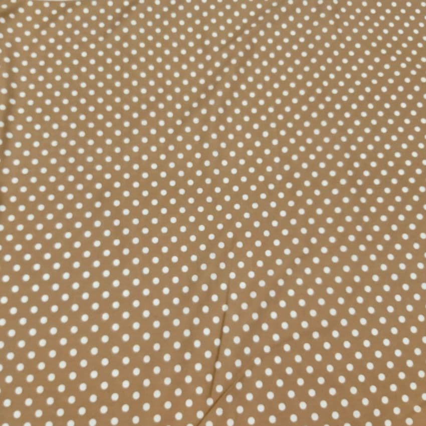 Polka Dot - Dress Craft Cotton Fabric - White On Brown