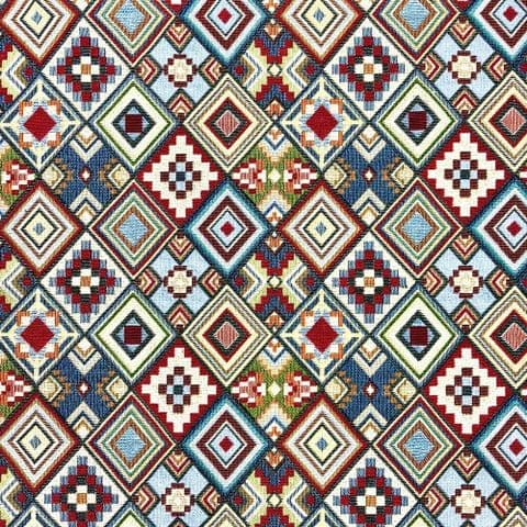 Tapestry Fabric - Curtains Upholstery Cotton Mix  - Little Aztec