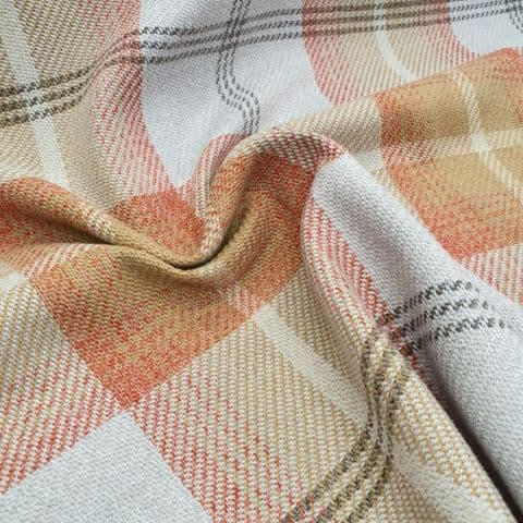 Tweed Check - Curtains Soft Furnishings Polyester Fabric - Orange & Natural