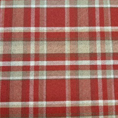 Tweed Check - Curtains Upholstery  Polyester Cotton Fabric -Skye Red