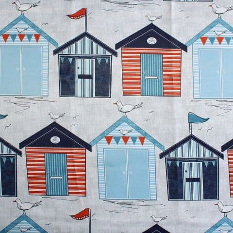 Beach Huts - Polyester Blackout Curtain Lining