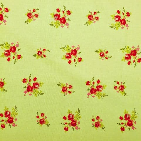 Flowers  - Curtains Soft Furnishings Cotton Fabric  - Red on Pale Blue Green