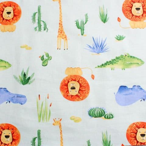 Lions Hippos and Crocodiles - Dress Craft Cotton Fabric   - Mint Green