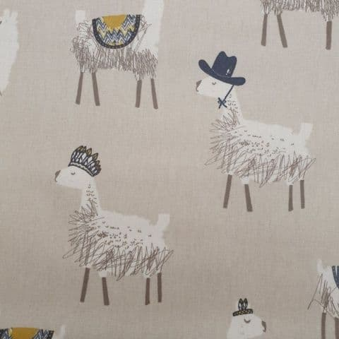 Oil Cloth PVC Coated Cotton Fabric - Llamas Beige