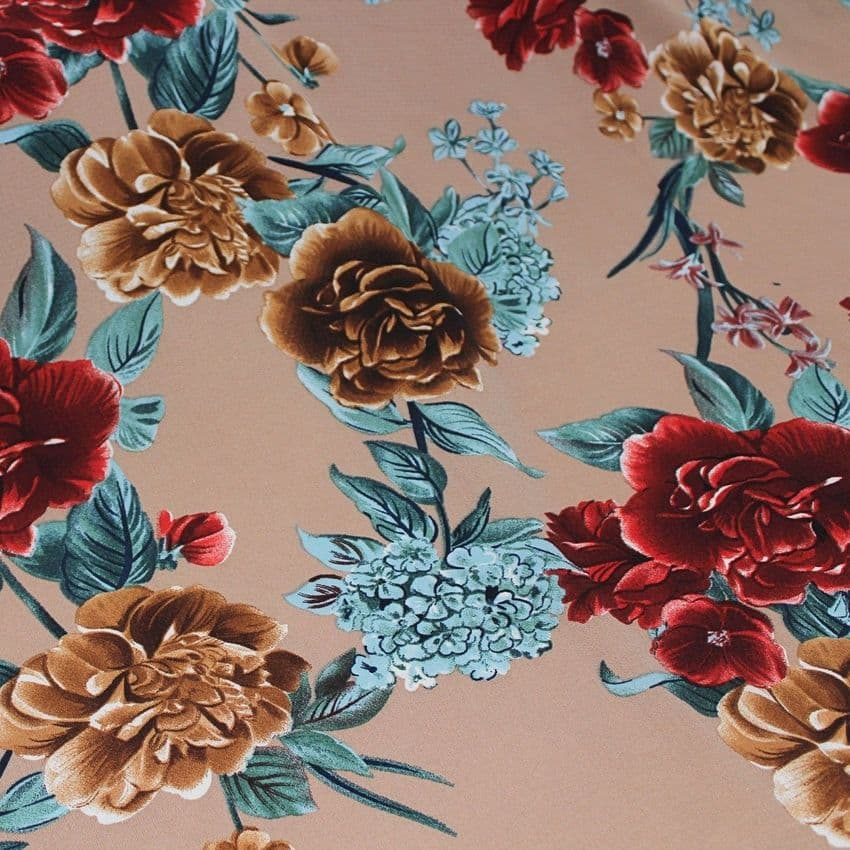 Polyester Bubble Crepe Dress Fabric - Red Flowers On Tan