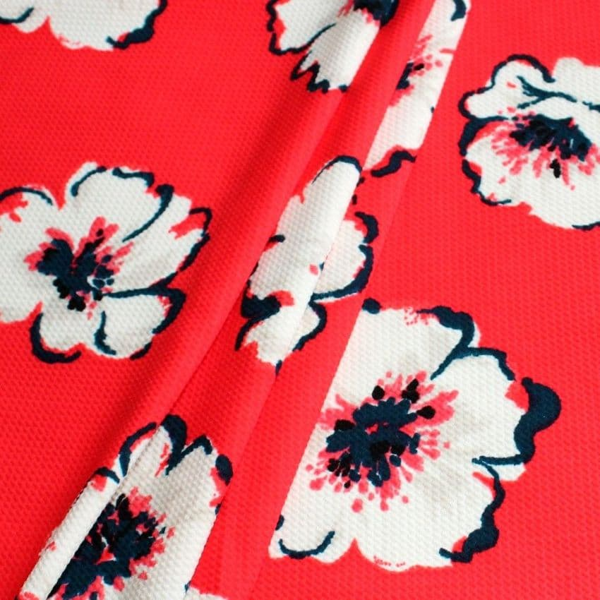 Polyester Bubble Stretch Jersey - White Flowers On Red