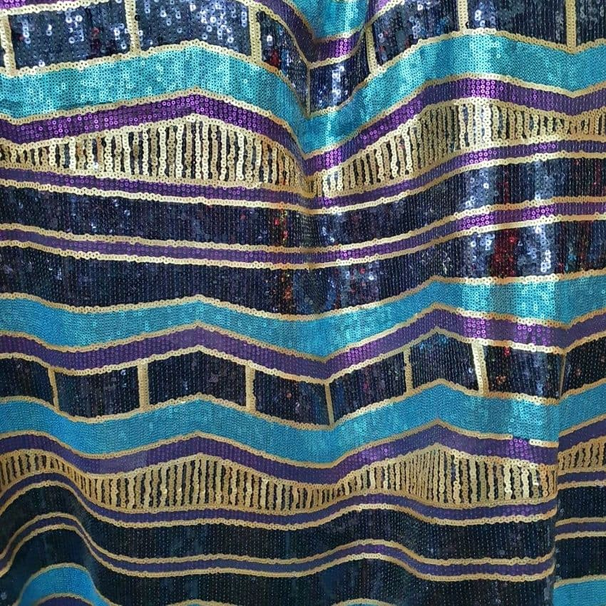 Polyester Mesh  Sequin Dress Fabric- Blue Purple Gold Geometric Pattern