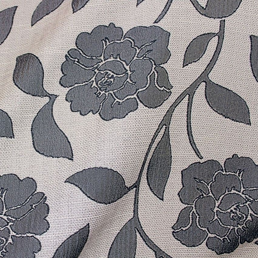 Roses - Curtain Double Width Polyester Mix Fabric  - Grey On Grey