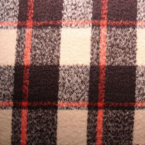 Wool Mix Dress Fabric - Brown & Orange Check