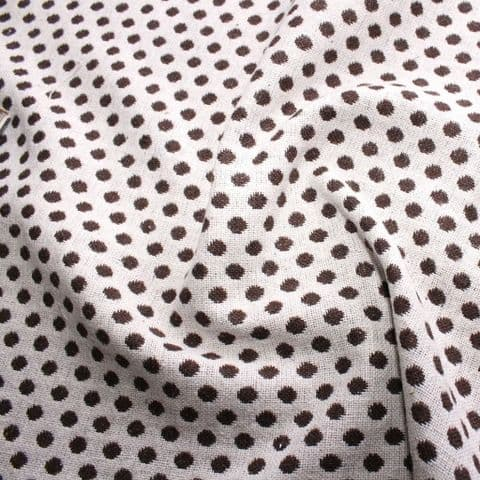 Wool Mix Dress Fabric - Brown Spots On Cream White