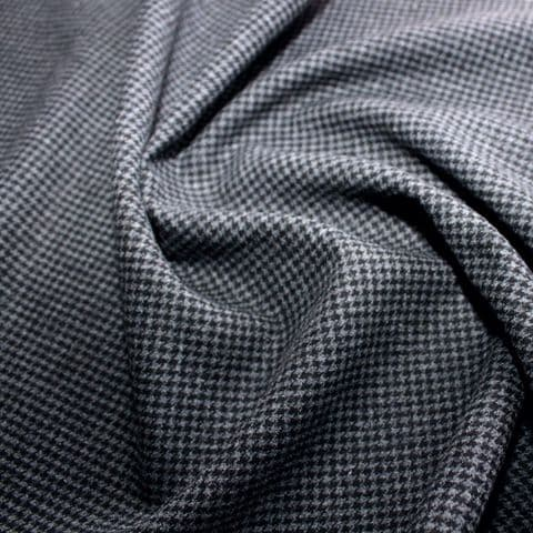 Wool Mix Dress Fabric  - Houndstooth Black & Grey