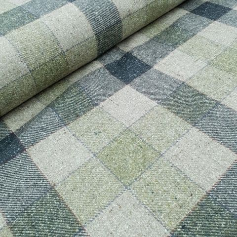 Wool Mix Dress Fabric  - Natural with Broad Blue Check