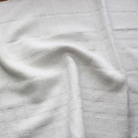 Wool Mix Dress Fabric - Soft White Sunken Check with Silver Thread