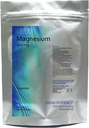 Magnesium 500mg HIGH POTENCY With Vitamin B6 VEGETARIAN