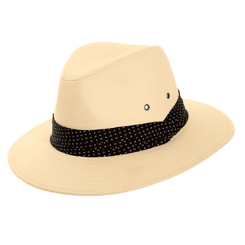 Cotton Fedora Style Summer Hat Spotty Band - Light Tan