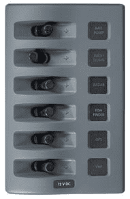 Blue Sea WEATHERDECK(TM) WATERPROOF PANEL, 6 way.  Switch only. No Backlight or Fuses.  Incl. VAT