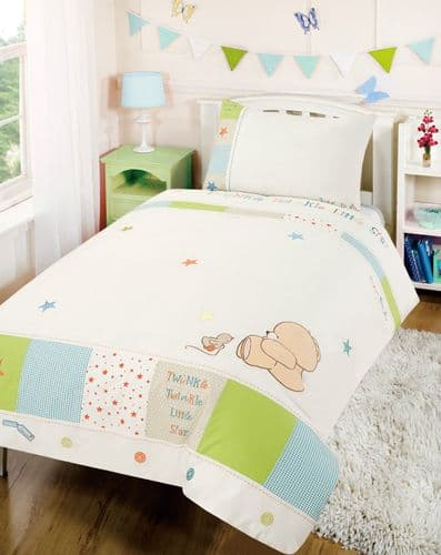 'IZZIWOTNOT' FOREVER FRIENDS LUXURY  BLUE COLOUR COT BED QUILT