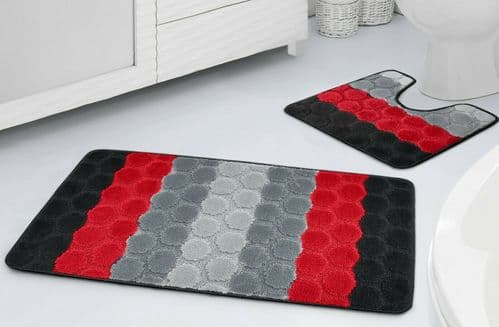 2pc Non Slip Tonal Stripe Hex Bathroom Bath Mat & Pedestal Mat Set Red