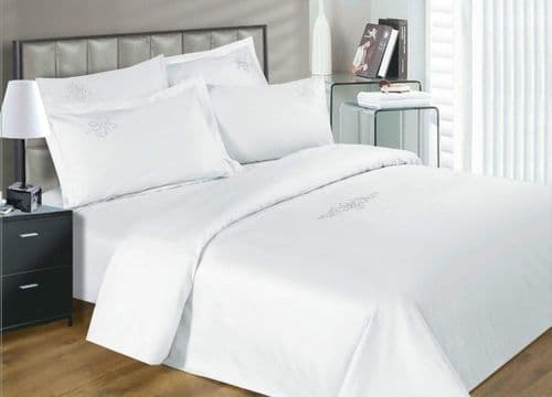 330 THREAD GROSVENOR SCROLL WHITE ELEGANT LUXURY EGYPTIAN COTTON SUPERIOR QUALITY 5* HOTEL BEDDING