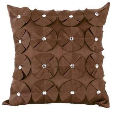 3D SHINY DIAMANTE CIRCLED RUFFLE DESIGNER CUSHION COVER BROWN COLOUR