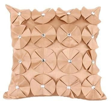 3D SHINY DIAMANTE CIRCLED RUFFLE DESIGNER CUSHION COVER LATTE BEIGE COLOUR