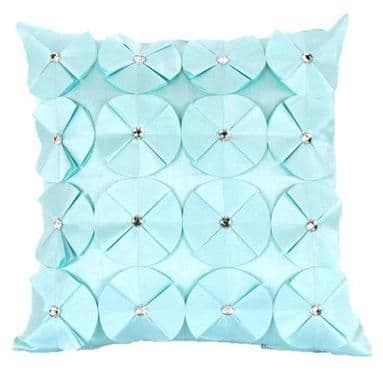 3D SHINY DIAMANTE CIRCLED RUFFLE DESIGNER FILLED CUSHION DUCK EGG COLOUR LARGE SIZE