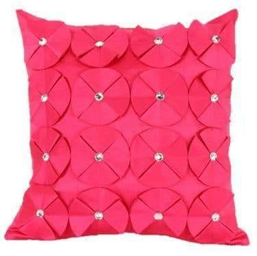 3D SHINY DIAMANTE CIRCLED RUFFLE DESIGNER FILLED CUSHION FUSHIA HOT PINK COLOUR LARGE SIZE