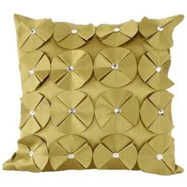 3D SHINY DIAMANTE CIRCLED RUFFLE DESIGNER FILLED CUSHION LIME COLOUR LARGE SIZE