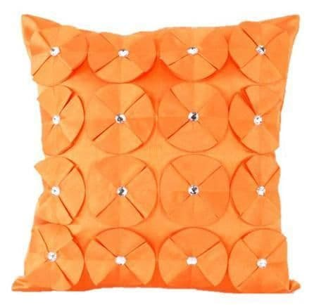 3D SHINY DIAMANTE CIRCLED RUFFLE DESIGNER FILLED CUSHION ORANGE COLOUR LARGE SIZE